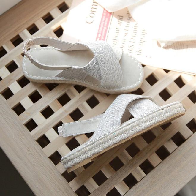 サンダル レディース フラット バックストラップ  ぺたんこ ペタンコ エスパドリーユ ジュート ベージュ シンプル 靴 婦人靴