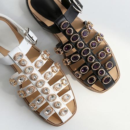 サンダル レディース ビシュー フラット ぺたんこ ペタンコ ブラック ホワイト グラディエーター 靴 婦人靴