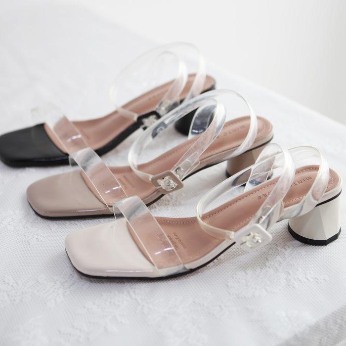 サンダル レディース PVC 太ヒール アンクルストラップ ブラック 靴 婦人靴 黒 ベージュ アイボリー