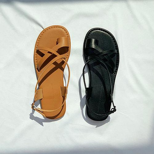 サンダル レディース サムリング フラット バックストラップ ぺたんこ ペタンコ 黒 ブラック ブラウン 靴 婦人靴