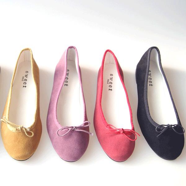 フラットシューズ パンプス リボン レディース バレエシューズ スエード  ぺたんこ ペタンコ 靴 婦人靴 黒 ブラック