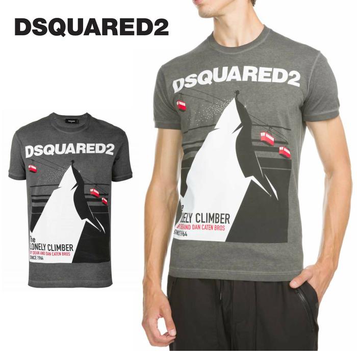 DSQUARED2 ディースクエアード Mサイズ メンズ Tシャツ 半袖Tシャツ ロゴ プリント アイコン 山 ロック マウンテン 登山 スポーツ 山登り クライミング 柄 グレー 注目ブランド おしゃれ 高級 綿 コットン イタリア製 送料無料