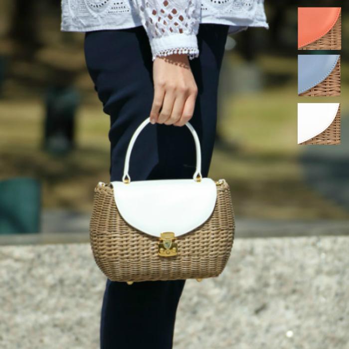 \GWクーポンあり/CAPAF カパフ 柳 籐 小さめ カゴバック イタリア製 軽量 シンプル 夏 ショルダー ハンドバッグ お出掛け バッグ 涼しい ブランド