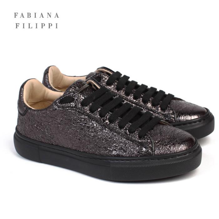 【40%OFF】ファビアナ フィリッピ FABIANA FILIPPI スニーカー シューズ 靴 2019年モデル ASD119-W414 VRU ブラック ブロンズ 牛革 シンプル イタリア製