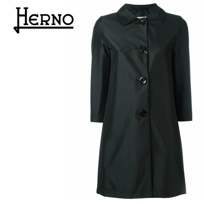 HERNO ヘルノ コート レディース 七分袖 ブラック ブランド ラグジュアリー 高級