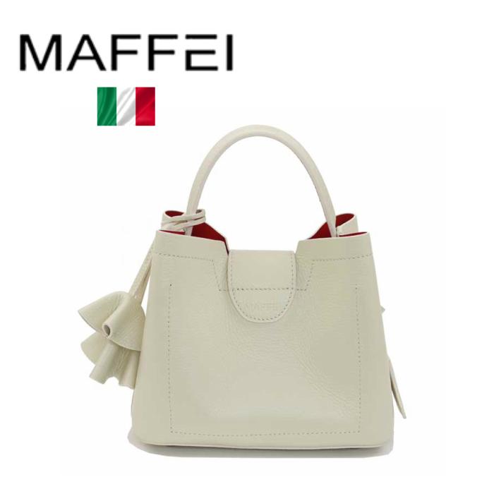 MAFFEI イタリア製 バッグ 本革 ホワイト 白 アイボリー 小さめ 肩掛け イタリア製 2way Sサイズ イタリア マフェイ ハンドバッグ ショルダーバッグ チャーム 2WAY Sサイズ レザー パーティー お出掛け デート 結婚式 二次会 フォーマル