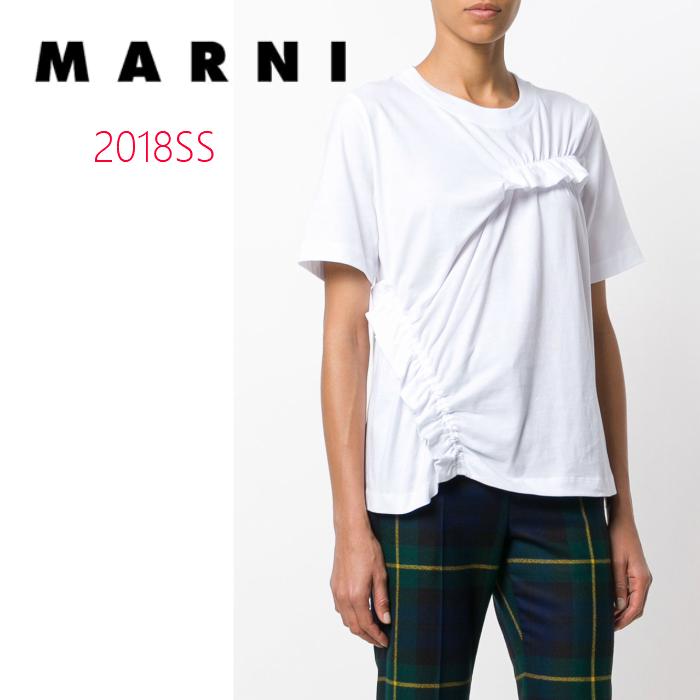 送料無料 新入荷 2018SS 2018 春夏 新作 MARNI マルニ Tシャツ ホワイト ギャザー フリフリ エレガント 高級 イタリア製 ブランド