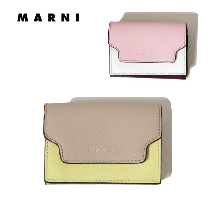 マルニ MARNI ミニウォレット 春夏 本革 レザーバイカラー 2色 アイコン ブランド イタリア製 ピンク イエロー ホワイト 国内正規品 送料無料