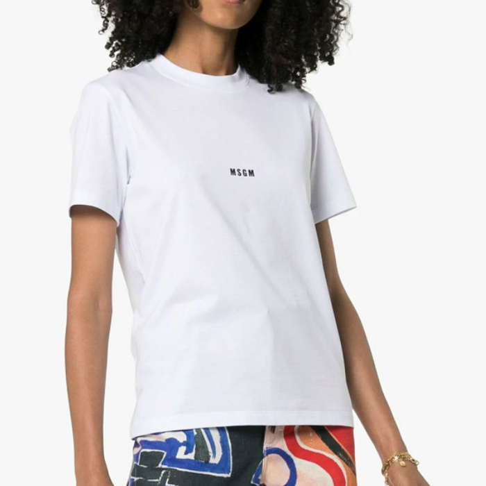 【30%OFF】【国内正規品】MSGM エムエスジーエム Tシャツ レディース ロゴ プリント 2741MDM100 ホワイト ラウンドネック 半袖 イタリア製 ブランド 【送料無料】