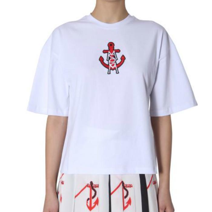 【30%OFF】【国内正規品】MSGM エムエスジーエム Tシャツ レディース ロゴ プリント 2641MDM171 ホワイト 刺繍 白 ラウンドネック 半袖 イタリア製 ブランド 【送料無料】