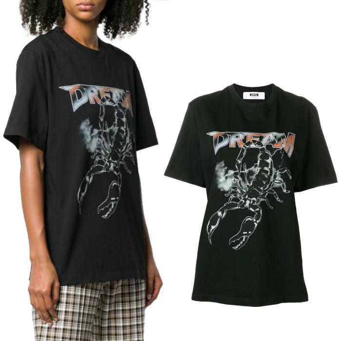 【国内正規品】MSGM エムエスジーエム Tシャツ レディース ロゴ プリント 2642MDM251X DREAM ブラック 黒 ラウンドネック 半袖 イタリア製 ブランド 【送料無料】