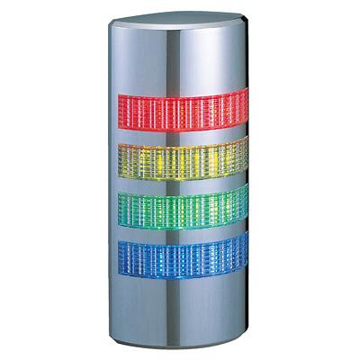 パトライト 薄型LED壁面取付け積層信号灯 クロムメッキ仕様 WE-402FB 4段 点灯・点滅・ブザー AC/DC24V 赤・黄・緑・青