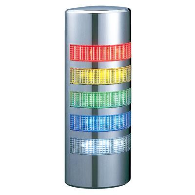 パトライト 薄型LED壁面取付け積層信号灯 クロムメッキ仕様 WE-502 5段 点灯 AC/DC24V 赤・黄・緑・青・白, ニコニコのり 743c0033