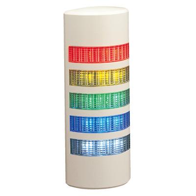パトライト 薄型LED壁面取付け積層信号灯 ライトグレー WEP-502 5段 点灯 AC/DC24V 赤・黄・緑・青・白