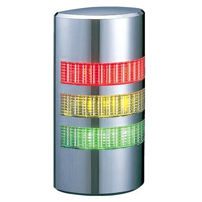 パトライト 薄型LED壁面取付け積層信号灯 クロムメッキ仕様 WE-302 3段 点灯 AC/DC24V 赤・黄・緑