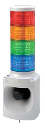 パトライト LED積層信号灯付き電子音報知器 LKEH-410F AC100V 4段 (色、音色お選びいただけます。)