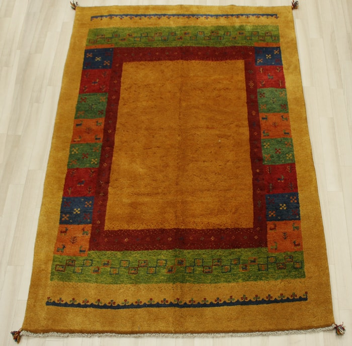 ペルシャギャベ BB12289 (Y) ラグマット ウール100% 約170×232cm オレンジ お買い物マラソン