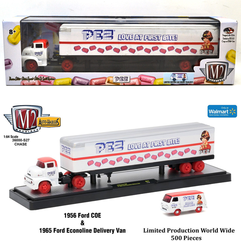 M2 MACHINES 1:64SCALE 1956 FORD COE & 1965 FORD ECONOLINE DELIVERY VAN(CHASE CAR)