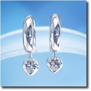 イヤリング ピアリング ダイヤモンド 0.10ct K14WG(ホワイトゴールド) 【ハートチャーム】【k14/14金】【送料無料】 10P03Dec16