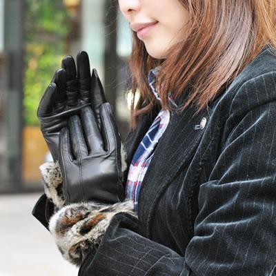クーポン配布中★手袋 レザー 本革 イタリア製 ナポリ カシミヤライニング ラビットファー 革手袋 革 手袋 レザー手袋 レザーグローブ ファー付き レディース おしゃれ ギフト