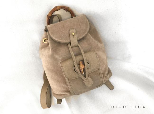 【GUCCI】グッチ・ヴィンテージバンブースエードリュック バッグ ベージュv1285【DIGDELICA】ディデリカ UESD中古品 BAG