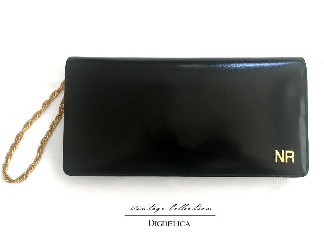 Vintage【NINARICCI】ニナリッチ・ヴィンテージクラッチバッグ チェーンバッグ v1304【DIGDELICA】ディデリカ UESD中古品 年代物 ブラック