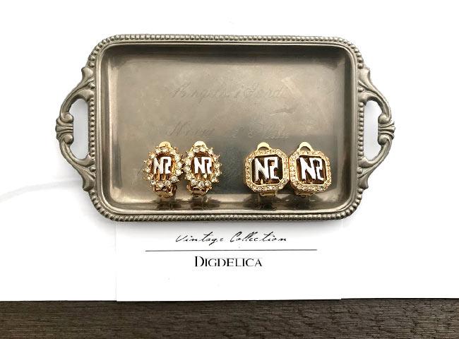 Vintage【NINARICCI】ニナリッチ・ヴィンテージセレクトイヤリング スワロフスキー v1339【DIGDELICA】ディデリカ 年代物 UESD中古品 結婚式
