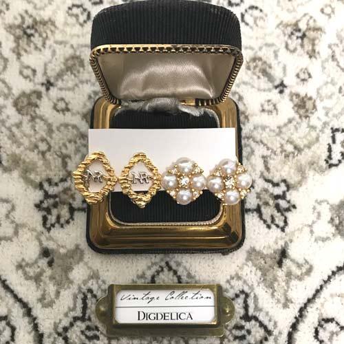 Vintage【NINARICCI】ニナリッチ・ヴィンテージセレクトイヤリング  真珠  v1401【DIGDELICA】ディデリカ 年代物 UESD中古品 コスチュームジュエリー