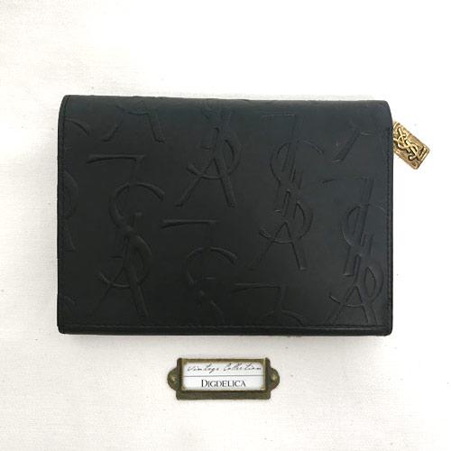【YvesSaintLaurent】ヴィンテージ イヴサンローラン イブサンローラン ウォレット 財布 二つ折り財布  YSL Vintage 黒 BAG ブラック v1417【DIGDELICA】UESD中古品年代物