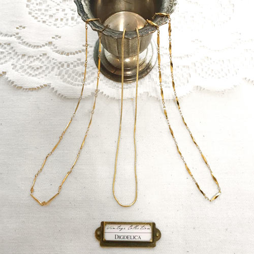 限定一点物 Vintage K18GF / K18GP ヴィンテージネックレス v1420 シンプル ゴールドフィルド【DIGDELICA】ディデリカ 年代物中古品UESD