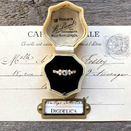 割引も実施中 一点物 K18 ヴィンテージ シードパールアクアマリンリング 指輪 vintage gold SALENEW大人気! ring OPAL v1543 DIGDELICA ディデリカ UESD中古品
