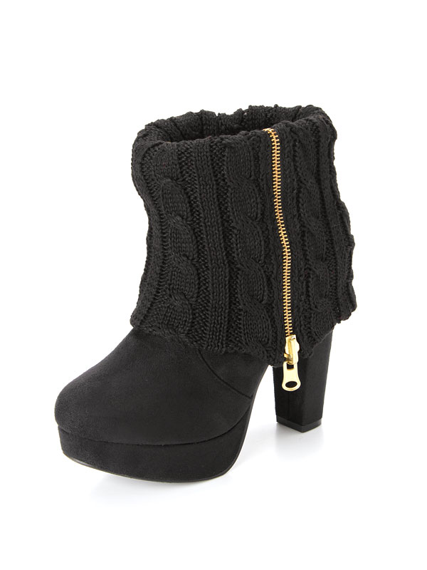 12.5 cm thick heel gold zip accent wrap knitting short boots from short boots thick heel zip high heel knit knit backrest zip zipper winter insoles cushion sexy Cavalier girls ladies shoes folded short boots dream vision ◆ 9 / 29 delivery plan