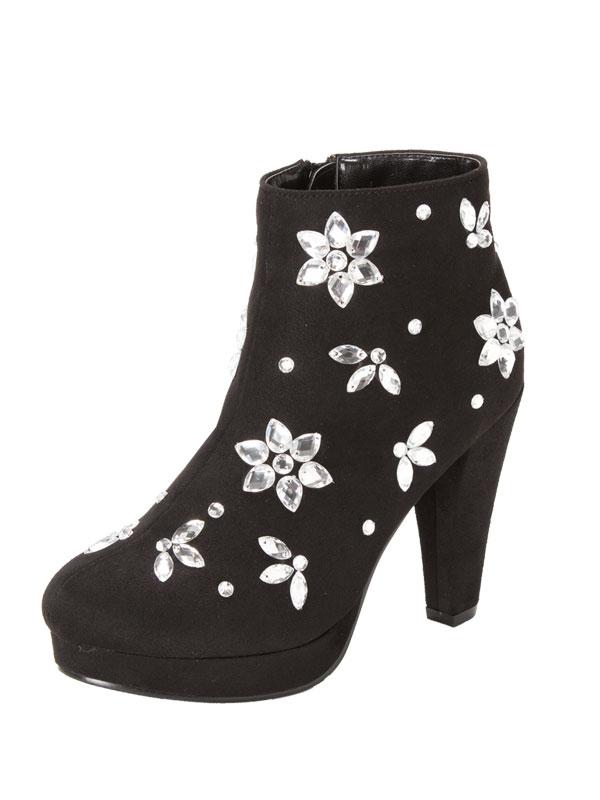 Glitter luxury flower Bijou short boots black short boots size heel suede walkable thick heel black Bijou storm girly cute fashion ladies black short boots booties boots dream vision ◆ 10 / 22 (tentative)