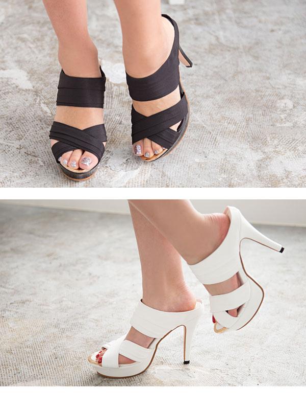 12cm heel chiffon cross belt sandal
