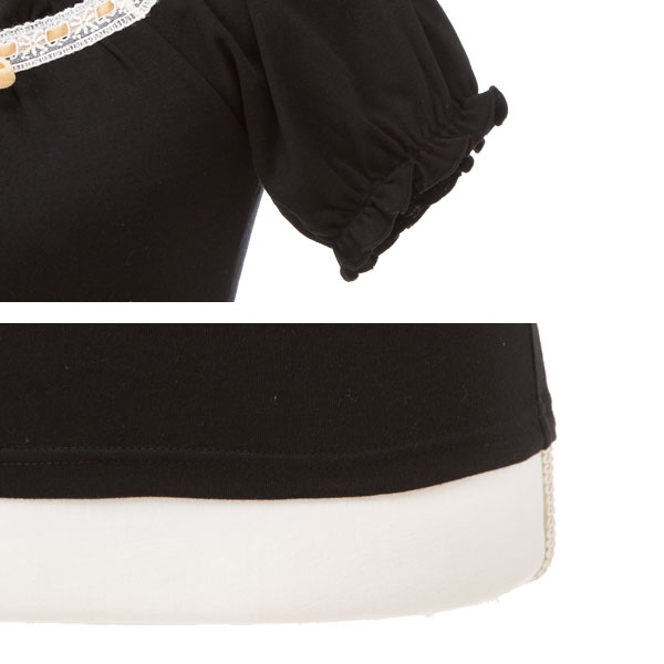 Race fur size white ivory Bordeaux black white red black M L LL 3L lady's dream prospects 0711 ◆ 7/18 shipment plan that a T-shirt ribbon round neckline frill has a big plonk plonk in short-sleeved cut-and-sew tops summer