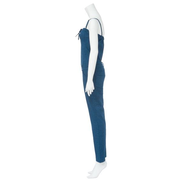 Super stretch 2WAY race up base-up Kinney all-in-one summer salopette Kinney base-up top denim white blue indigo light blue plain fabric M L LL Lady's dream prospects 0714 ◆ 7/27 shipment plan