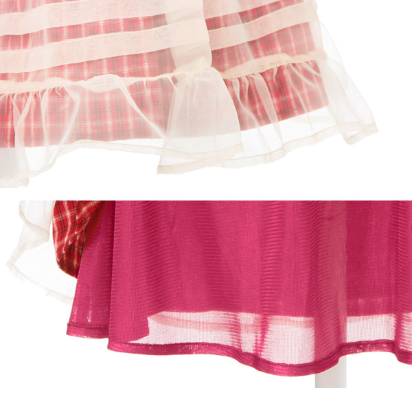 Organdy is transparent and plans cotton ribbon waist rubber organdy skirt knee-length pink red navy red M L LL Lady's dream fine-view 0711 ◆ 7/12 shipment in check skirt summer