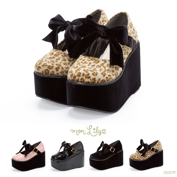 The big ribbon thickness bottom pumps summer flat thickness bottom strap leopard pattern enamel velour synthetic leather pink black 22cm 22.5cm 23cm 23.5cm 24cm 24.5cm 25cm 25.5cm lady's dream prospects 0714 ◆ 7/18 shipment plan that does not have a pain