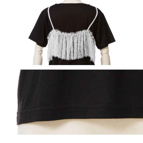 The white black black and white M L Lady's dream prospects 0710 ◆ 7/13 shipment plan when layered wind rose race cut-and-sew short sleeves fashion is pretty for two types of selectable bustier or camisole style T-shirt summer