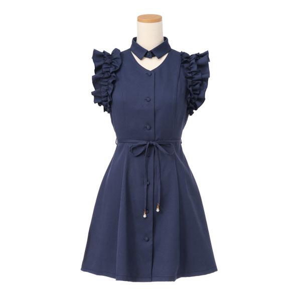The pink navy black black plain fabric M L LL Lady's dream prospects 0710 ◆ 7/27 shipment plan when a frill a line knee length sleeveless front button is pretty in open neck shoulder frill dress summer with the waist ribbon