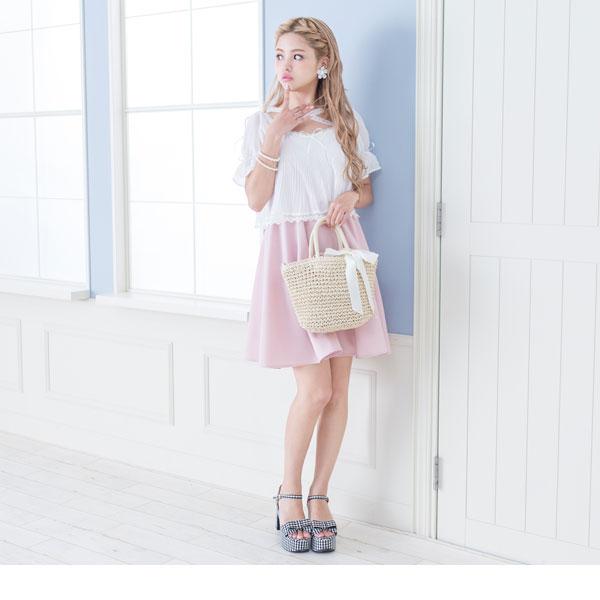 Flare dress lavender pink navy M L LL Lady's dream fine-view 0713 ◆ 7/28 shipment plan that ribbon flare short sleeves waist rubber has a cute in cross neck race pleats chiffon lei yard dress summer