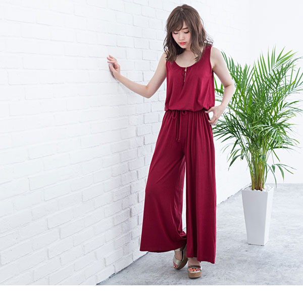 Beautiful silhouette wide underwear all-in-one summer gaucho waist rubber no sleeve ribbon maxi casual black Mocha gray navy khaki Bordeaux black red plain fabric M L LL 3L lady's dream prospects 0710 ◆ 7/13 shipment plan