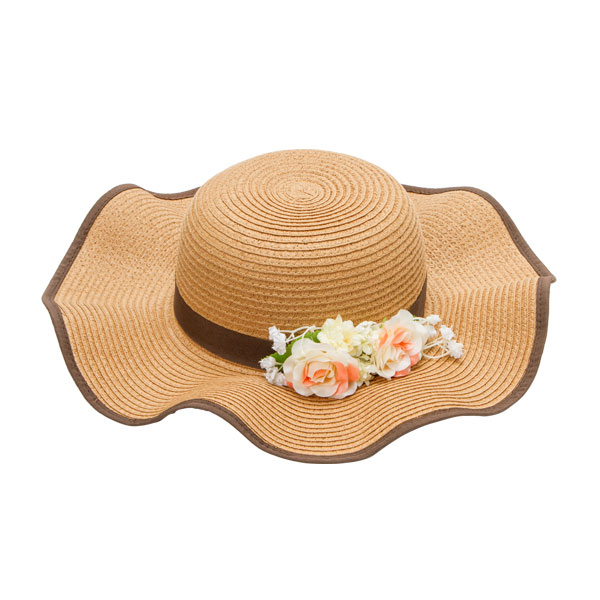 Cloche knitting hat summer pH hat Cloche actress hat broad-brimmed resort natural brown F Lady's dream prospects 0711 with the original flower