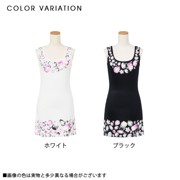 Luxurious bijou print no sleeve dress summer U neck go Japanese Agricultural Standards accent adult of superior grade tight no sleeve dress white black black and white M L LL Lady's dream fine-view 0712 ◆ 7/21 shipment plan