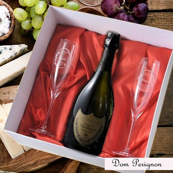 【名入れ専門】【名入れ プレゼント】【 酒 】【 ワイン 】 正規品ドン ペリニヨン ヴィンテージ 750ml クリスタルシャンパングラス2点セット