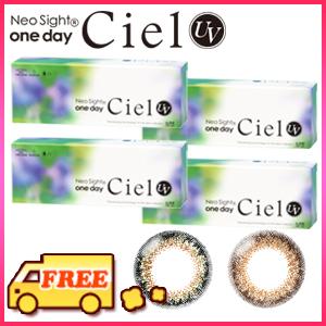 【送料無料】アイレ ネオサイトワンデー シエル UV(Ciel)4箱(両目2ヵ月分) 1日使い捨てソフトサークルコンタクトレンズ カラコン 度なし・度ありカラコン