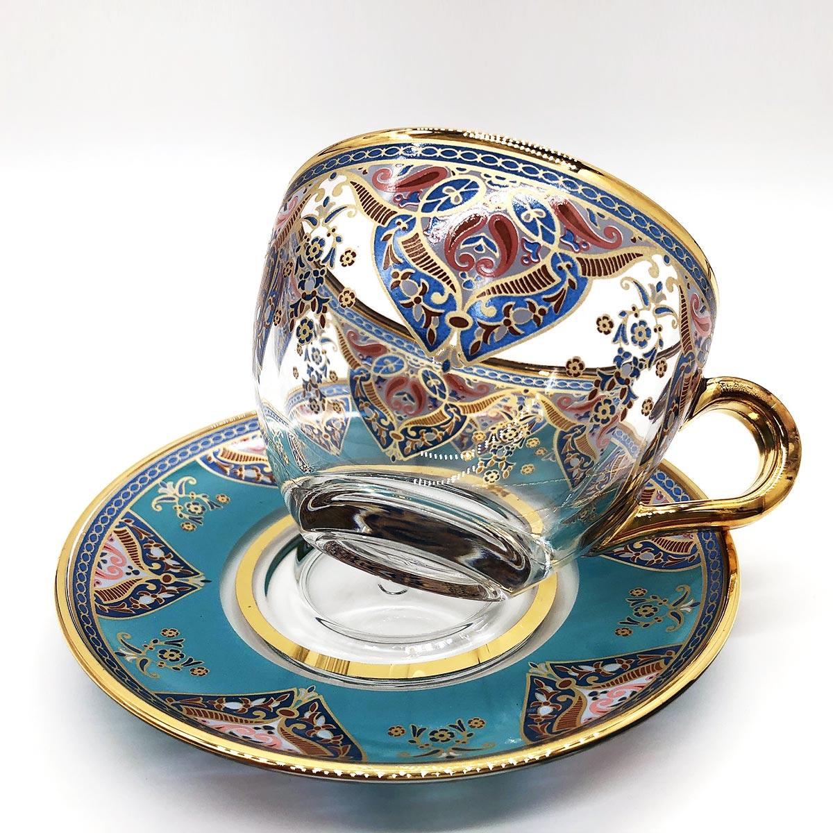 一つ一つ手作業で製作している耐熱ガラスのカップとソーサー2点セット トルコ雑貨 チャイグラス コーヒー ソーサーセット 輸入 海外 食器 おしゃれ インテリア トルコ製 土産 ギフト 【レビューで全プレ】トルコチャイ カップ&ソーサー 2点セット 耐熱ガラス B-03 おしゃれ トルココーヒー グラス インテリア ガラス 紅茶 コーヒー 来客用 人気 チャイ カップ&ソーサーセット プレゼント ギフト 贈り物 おすすめ トルコ 雑貨 食器 送料無料