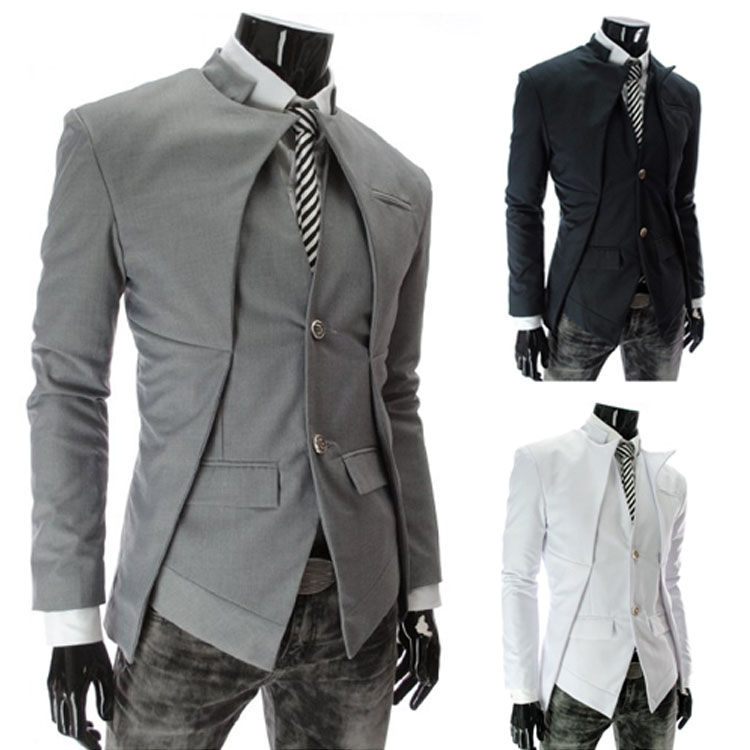 Fake Set Like Jacket Tailored Jacket Men Suit Jacket Slim Casual Tailored Men Outer White Black Gray Dressy Wedding Ceremony Party