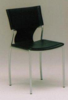 〔合成皮革レザー〕 シンプル デザイナーズ風 ダイニングチェアー FP-DC-7032〔ブラック(黒)〕〔2脚セット〕【送料無料】