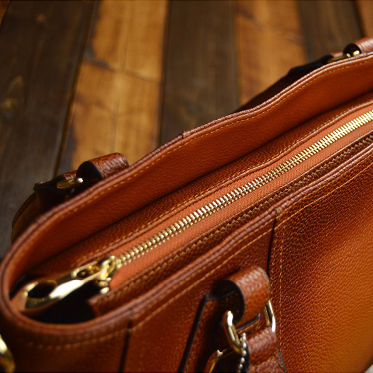Cow Brown With Tea Men Bag Cowhide Thoth Present The Business Leather Tote Genuine Shoulder L4Aj53R